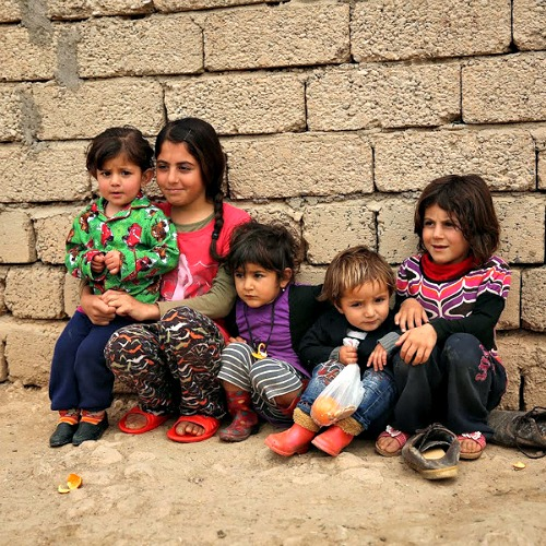 Refugee children at a refugee camp in Duhok, Iraq, on March 28.