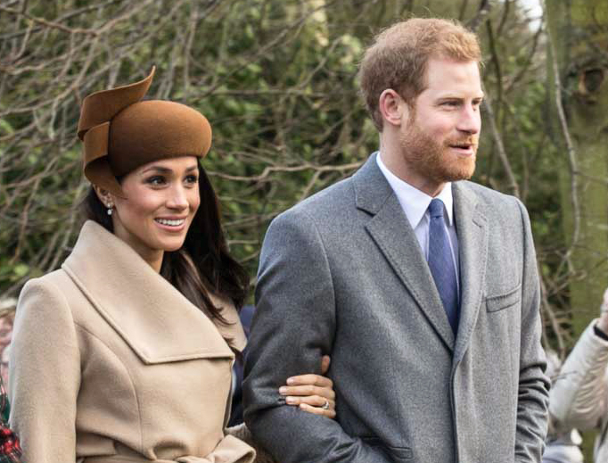 Prince Harry and Meghan Markle attend church services at Sandringham on Christmas Day 2017.