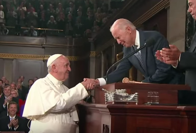 Vice President Biden welcoming Pope Francis to the Senate, Sept. 2015.