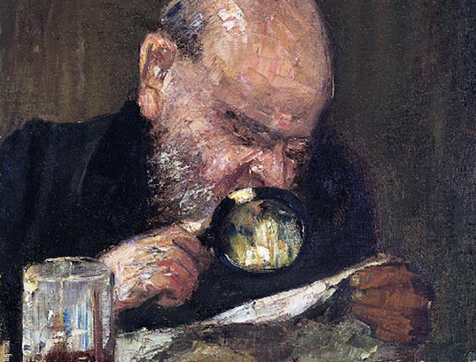"""Lesser Ury, """"Leser mit Lupe"""", ca. 1895"""