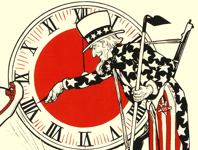 This World War One-era poster shows Uncle Sam turning a clock to daylight saving time. The original artist's monogram has not been identified.