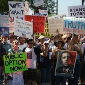 Health-care reform supporters rally Aug. 17 in Phoenix.