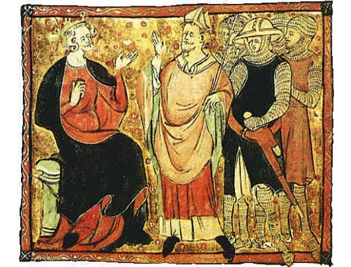 """King Henry II and Thomas Archbishop"", 14th-century miniature"