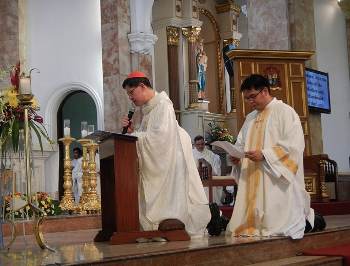 Cardinal Luis Antonio Tagle prays for the end of corruption during the national consecration to the Immaculate Heart of Mary, Philippines, June 8, 2013.
