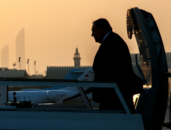 Secretary of State Mike Pompeo exits the plane at sunset as he arrives in Abu Dhabi on June 24 for meetings on Iran.The United States, Britain, Saudi Arabia and the United Arab Emirates have jointly called for diplomatic solutions to ease soaring tensions with Iran.