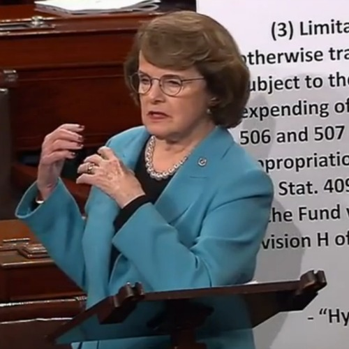 Sen. Dianne Feinstein, D-Calif., speaks March 18 on the Senate floor against inclusion of Hyde Amendment language in a human-trafficking bill.