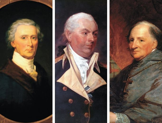 The Revolutionary War and American founding included the aid of many patriots, including Catholics like (from left to right) Charles Carroll, John Barry and Father (later Bishop) John Carroll.