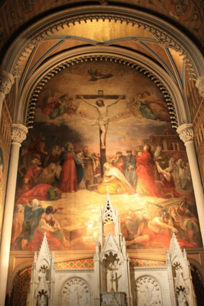 The Crucifixion scene by Brumidi fills the apse in St. Stephen/Our Lady of the Scapular Church in Manhattan