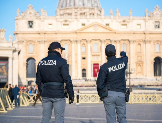 Police officers on duty at St Peter's square in Vatican City, 2019.
