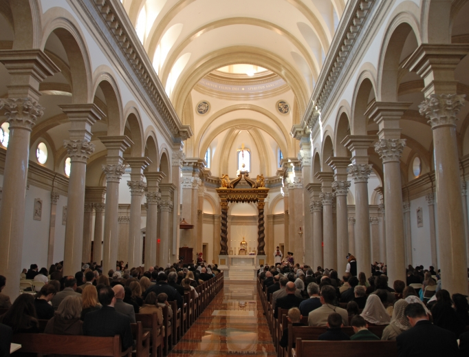 The interior of the chapel at Thomas Aquinas College in Santa Paula, California. The college will open a campus in Northfield, Massachusetts, in the fall of 2018.