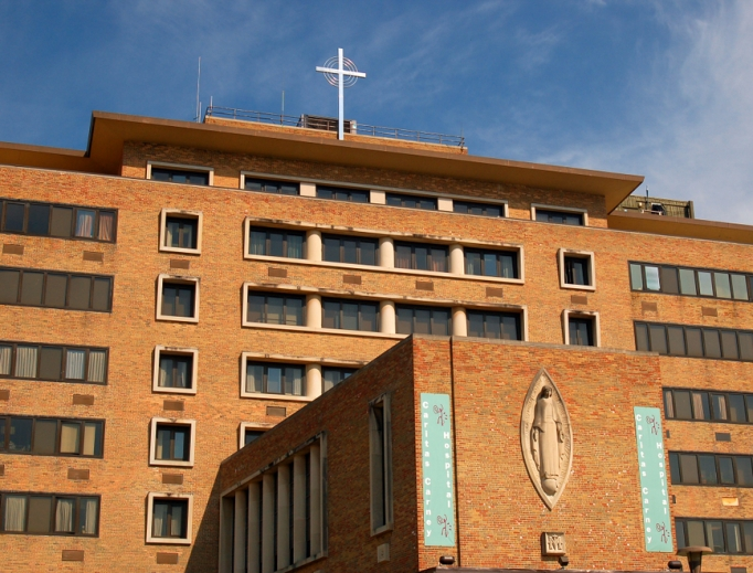 Carney Hospital, in Dorchester, Massachusetts, is one of several hospitals administered by the Catholic Church in the Boston area. Catholic health-care workers are on the front lines across the country, caring for patients afflicted by the coronavirus.