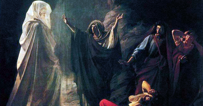 """The ghost of the Prophet Samuel appears to King Saul, as recounted in chapter 28 of the First Book of Samuel (Nikolai Nikolaevich Ge, """"The Witch of Endor"""", 1857)"""