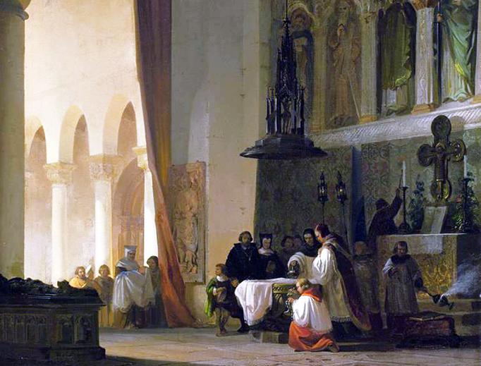 "Friedrich Carl Mayer (1824-1903), ""Baptism in the Basilica"""