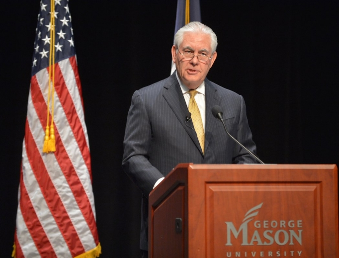 Former Secretary of State Rex Tillerson gives a speech March 6.