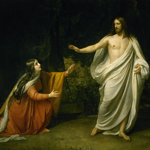 Jesus appearing to Mary Magdalene after his resurrection from the dead, depicted by Alexander Andreyevich Ivanov.