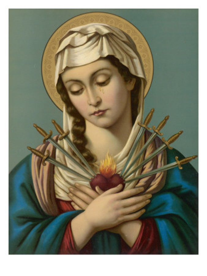 Seven swords pierce the heart of Our Lady of Sorrows symbolizing her seven sorrows