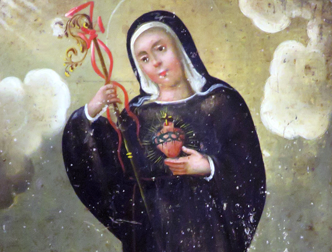 "Anonymous Mexican painter, ""Saint Gertrude the Great"", mid-19th century"