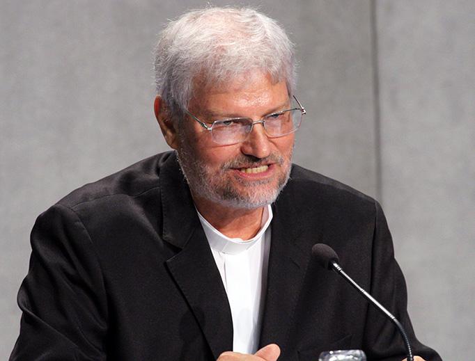 Bishop Evaristo Pascoal Spengler of Marajó, Brazil, speaks at the Vatican media conference Oct. 25.