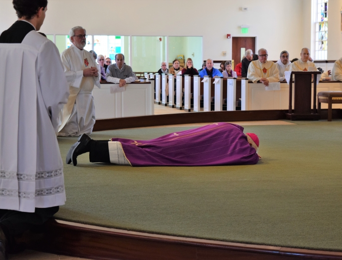 Archbishop Leonard Blair of Hartford came to St. George's in Guilford, Connecticut, Feb. 16 to celebrate the second of three Masses of reparation for victims of clergy sexual abuse.