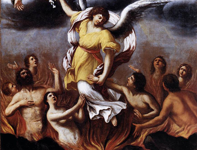 """Ludovico Carracci (1555-1619), """"An Angel Frees the Souls of Purgatory"""""""