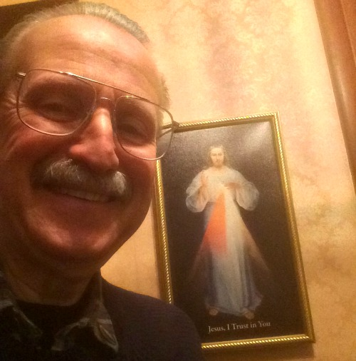 Dr. Valdemar Welz and one of his Divine Mercy images