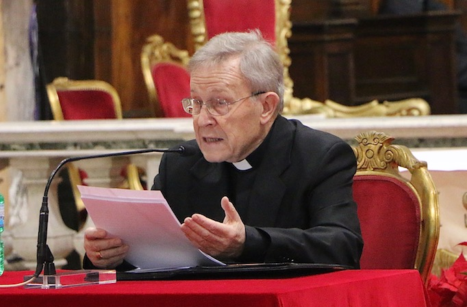 Cardinal Walter Kasper delivering a talk in Rome, Jan. 15, 2016.