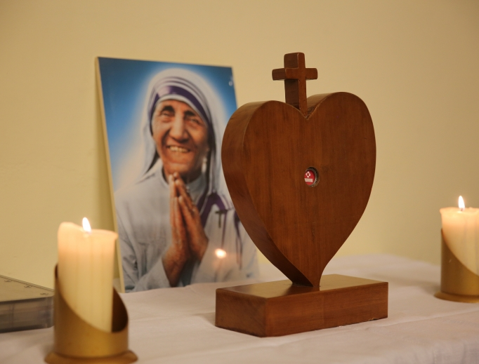 A relic of Mother Teresa at the Regina Coeli Prison in Rome, Italy, on Aug. 30, where a viewing of a documentary on Mother Teresa took place.
