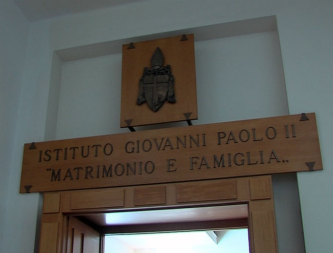 Entrance to the John Paul II Institute for Marriage and Family in Rome.