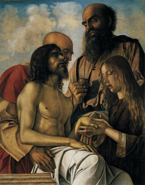 Giovanni Bellini's Lament over the Dead Christ, usually on display at the Vatican Museums, is among the works featured at the Turin exhibit.
