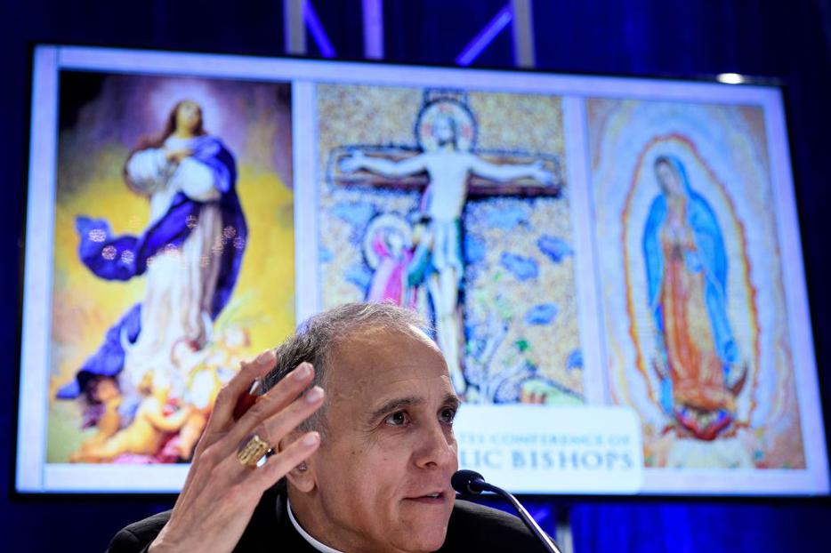 Galveston-Houston Cardinal Daniel DiNardo, president of the USCCB, speaks Nov. 12 during a press conference at the annual U.S. Conference of Catholic Bishops' fall meeting in Baltimore, Maryland.