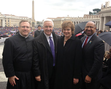 Father William Donovan (l) with Pennsylvania Gov. Tom Corbett and his wife, Susan Corbett, and Philadelphia Mayor Michael Nutter in Rome. Courtesy of Father William Donovan