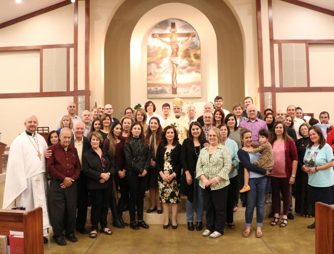 Above, the Melkite Greek-Catholic community at St. Kilian Catholic Church in Mission Viejo, California, with Bishop Nicholas Samra. Below, celebration of the Divine Liturgy.