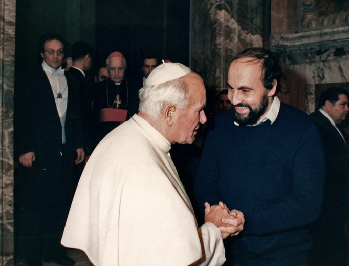 Above, Father Tomas Halik meets with Pope John Paul II in November 1989.