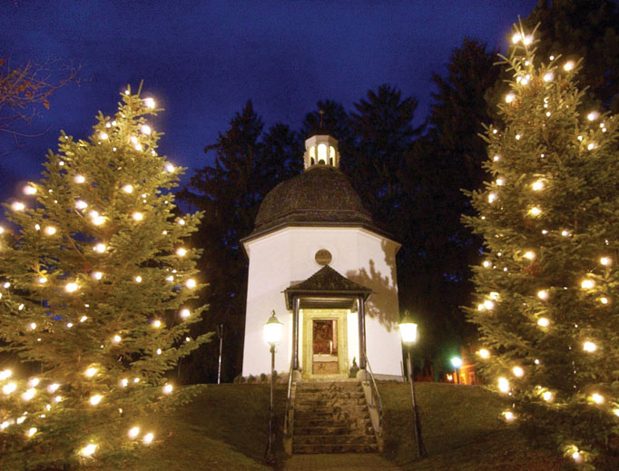 Silent Night Memorial Chapel in the Austrian village of Oberndorf stands on the original site of St. Nicholas Church, where the Christmas carol Silent Night was heard for the first time on Christmas Eve 1818.