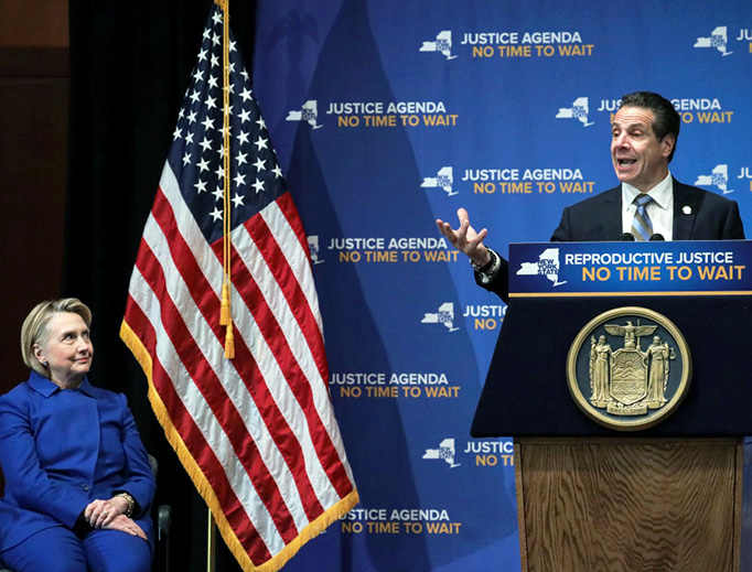 Former presidential candidate Hillary Clinton looks on as New York Governor Andrew Cuomo speaks at a pro-abortion event Jan. 7, 2019, in New York City. The two Democrats shared the stage to promote the Reproductive Health Act in New York, which Cuomo wants the State Legislature to pass in their first 30 days.