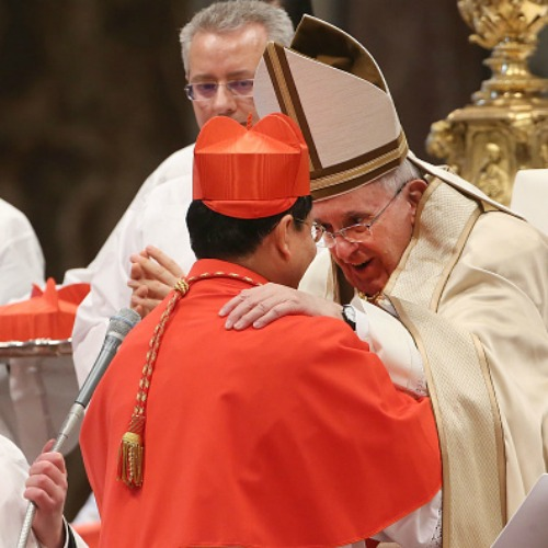 Pope Francis embraces Cardinal Charles Maung Bo of Yangon, Myanmar, during the Ordinary Public Consistory at St. Peter's Basilica on Feb. 14.