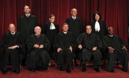 The U.S. Supreme Court justices gather for an official picture at the court in Washington Sept. 29. Seated in the front row are, left to right, Justice Anthony Kennedy, Justice John Paul Stevens, Chief Justice John Roberts, Justice Antonin Scalia, Justice Clarence Thomas, and in the back row are Justice Samuel Alito, Justice Ruth Bader Ginsburg, Justice Stephen Breyer and Justice Sonia Sotomayor.