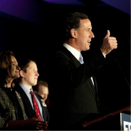 Former Republican presidential candidate Rick Santorum, accompanied by his wife, Karen, and members of his family, speaks at a campaign rally at Four Seasons Sheraton on April 3 in Mars, Pa.