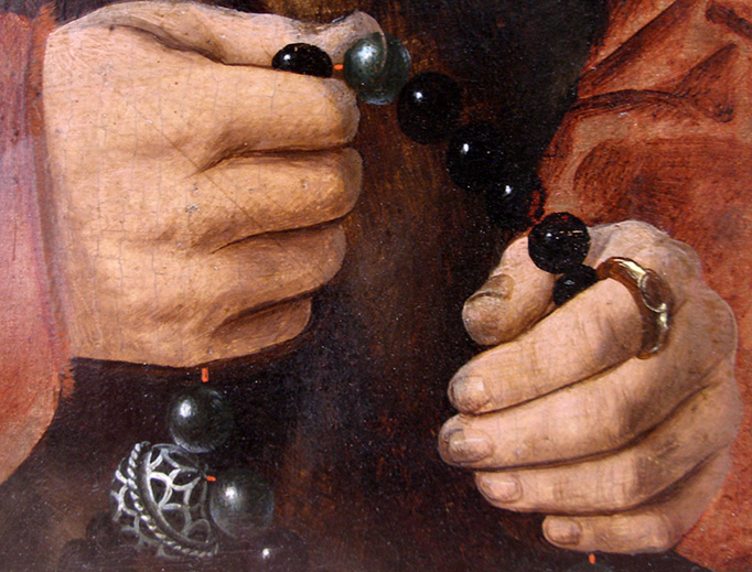 """Barthel Bruyn the Elder, """"Diptych with portraits of the Pilgrum couple (Rosary with pomander),"""" 1528"""
