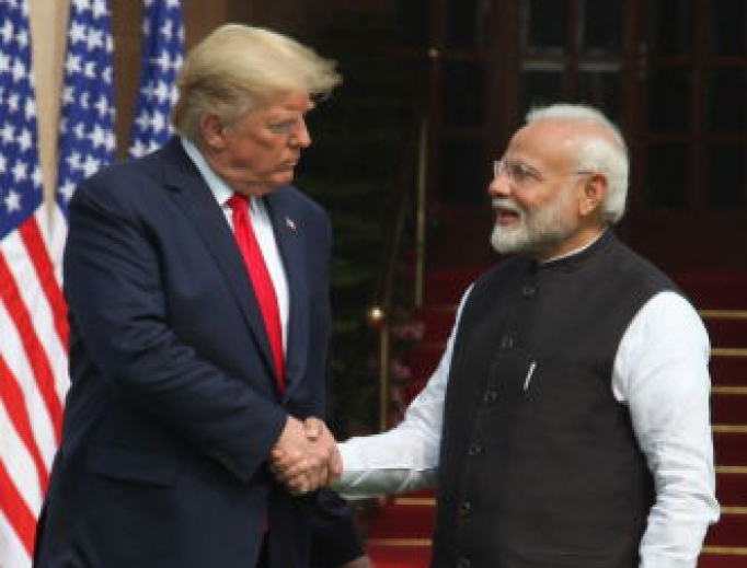 Donald Trump and Narendra Modi greet one another before sitting down for bilateral talks Feb. 25 in New Delhi, India.
