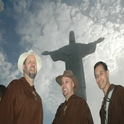 From left to right: Fathers Mark Mary, John Paul Zeller and Father Miguel Marie at the Christ the Redeemer statue in Rio.