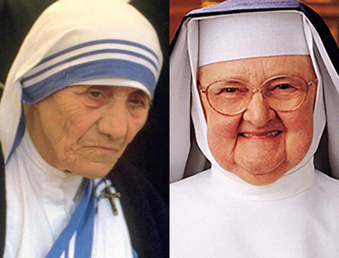 "LEFT: Mother Teresa in a 1986 file photo (Source: ""Túrelio"", via Wikimedia Commons). RIGHT: Mother Angelica (Source: EWTN)."