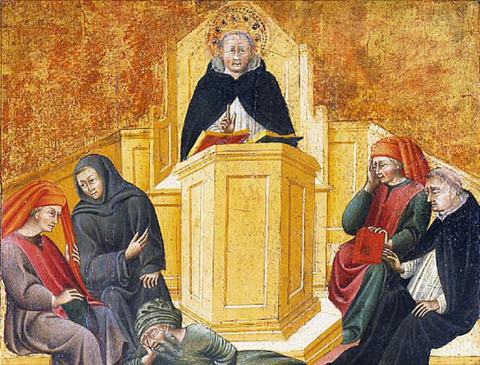 """Giovanni di Paolo (1403-1482), """"St. Thomas Aquinas Confounding Averroës"""""""