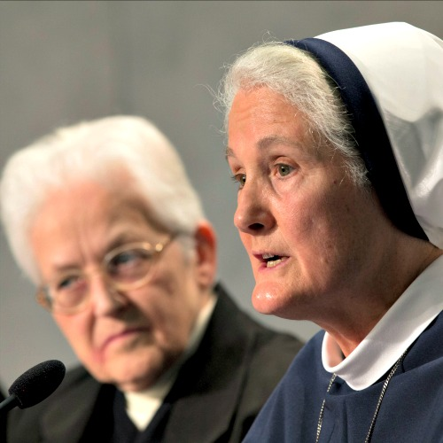 Mother Agnes Mary Donovan (r), head of the Sisters of Life, speaks during a press conference Dec. 16 discussing the release of the final report from the apostolic visitation of U.S. women's religious. At Mother Agnes' left is Sister Sharon Holland, president of the Leadership Conference of Women Religious.