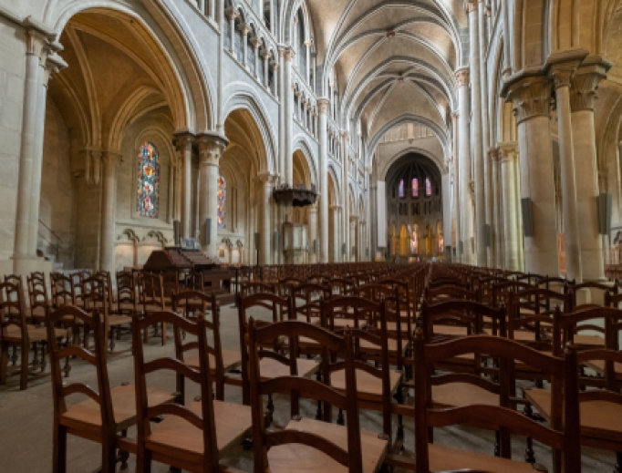 Empty cathedral in Lausanne, Switzerland.