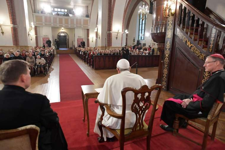 Pope Francis speaks in St. James Catholic Cathedral in Riga, Latvia, Sept. 24.
