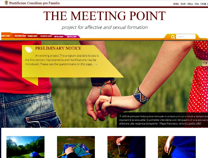 Screen shot of the homepage for the Meeting Point sex education materials from the Pontifical Council for the Family. Critics say the materials are explicit in some cases and are inappropriate the target age groups.