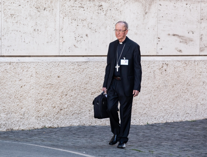 Cardinal Cláudio Hummes, prefect emeritus of the Congregation for the Clergy, shown arriving for the afternoon session of the Amazon synod Oct. 8, has been advocating the ordination of married men for more than 10 years.