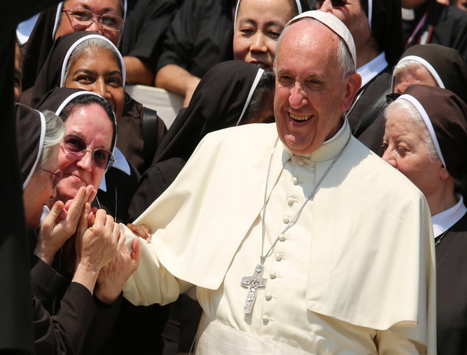Pope Francis with religious sisters at the jubilee audience in St. Peter's Square on June 30, 2016.