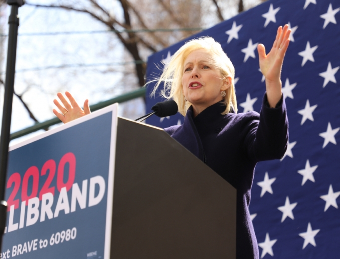 Democratic Senator Kirsten Gillibrand launching her presidential campaign outside the Trump International Hotel in New York City, March 24, 2019.